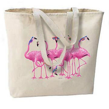 Flamingos In Sunglasses New Large Canvas Cotton Tote Bag Shop Beach Gifts
