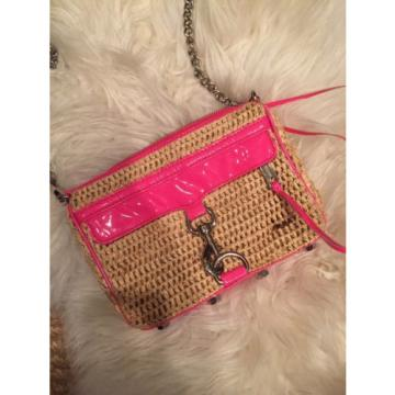 Rebecca Minkoff Straw Rafetta And Hot Pink Piping Mini MAB Bag Hamptons Beach