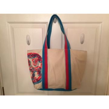 NEW TORY BURCH Logo Small Beach Red Ivory Light Blue 3D Tote Bag