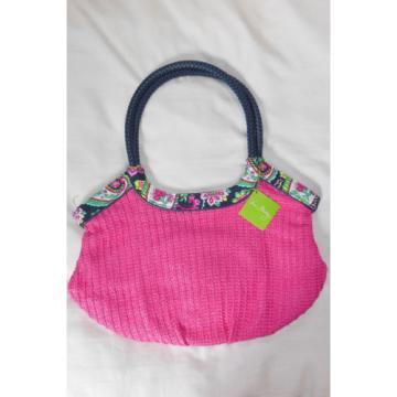 NWT Vera Bradley STRAW BUCKET TOTE in PETAL PAISLEY beach shopper bag 13618-154