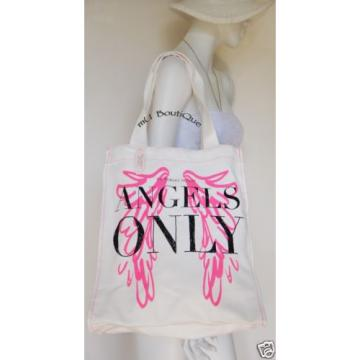 1 VICTORIA'S SECRET SUPERMODEL ANGELS ONLY WHITE IVORY CANVAS BEACH TOTE BAG NWT