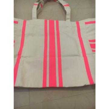 Victorias Secret Canvas Tote Bag Extra Large Beach Shopper Pink Striped NEW!