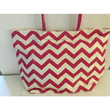 LARGE BEACH STRAW tote bag lined PINK WHITE chevron stripe pocket  NEW TAGS