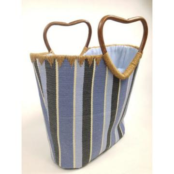 Blue Stripe Beach Tote Bag Bamboo Handles Lined Medium Size