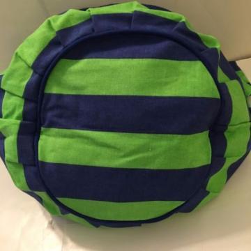 NAVY BLUE GREEN STRIPE CANVAS beach cotton tote bag INSIDE pocket SNAP NEW