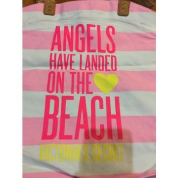 Victoria's Secret Pink Beach Tote Bag New Nwt Angels Canvas Striped
