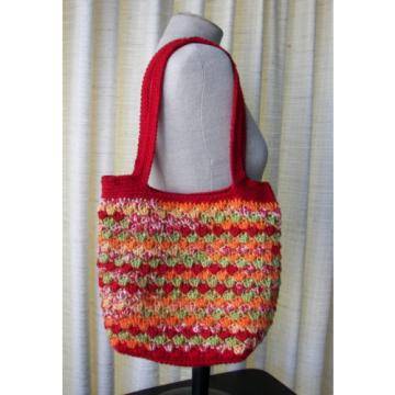 Crochet Designer Bag / Market Tote Shoulder Sling Beach Swim Summer in RED multi