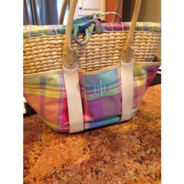 "Lauren Ralph Lauren Beach Picnic Straw Tote Bag Measures - 17"" by 17"""