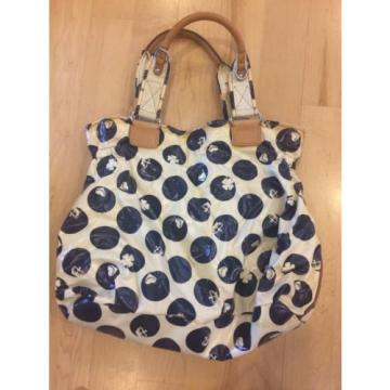 Juicy Couture Large Navy Polka Dot Coated Canvas X-Large Tote Bag Beach