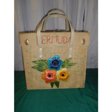 EXC vtg lrge BERMUDA straw floral beach shopping bag tote metal feet & frame 185
