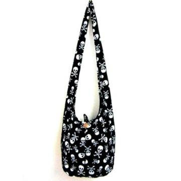 0789 BEACH BAG SLING SHOULDER ADVENTURE SKULL UNISEX MEN HOBO BOHO GHOST BLACK