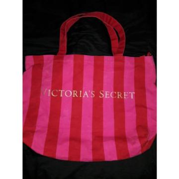 VICTORIA'S SECRET Large Striped Pink Canvas Carry All Beach Tote Bag Womens Huge