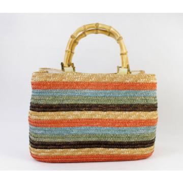 Straw Summer Beach Purse Bag Striped Charter Club Classics Bamboo Holiday