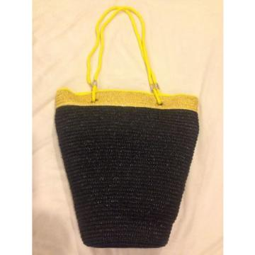 Carolina Herrera Black Yellow Large Tote Summer Beach Bag Stylish Purse