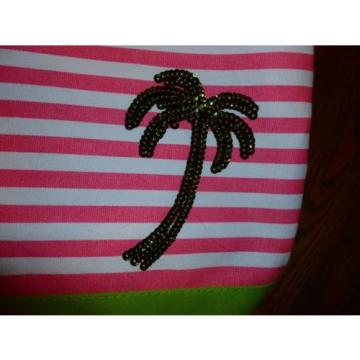 QUACKER FACTORY TOTE BEACH BAG LIME & PINK  STRIPE LIME SEQUINS PALM TREE