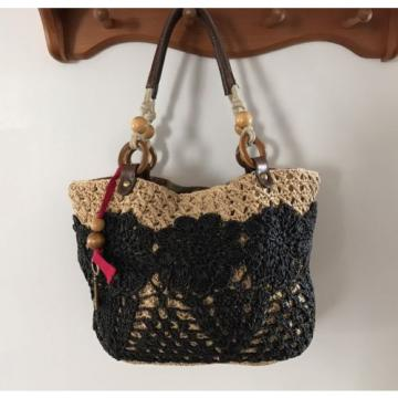 Fossil Straw Tote Black Tan Handbag Perfect Beach Bag