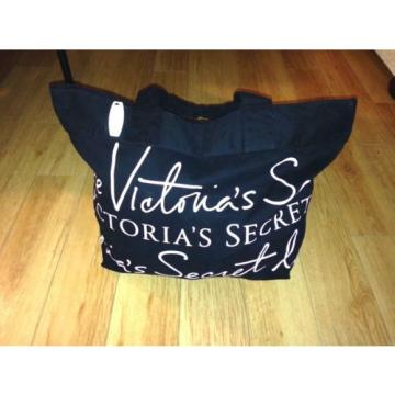 Victorias Secret Large Black Canvas Signature Travel Beach Gym Bag Tote Shopper