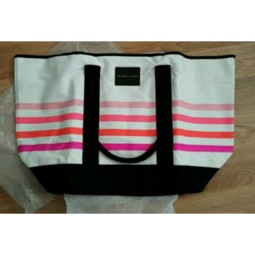 VICTORIAS SECRET SUNKISSED TOTE BEACH BAG PINK STRIPED NWT 2016 OVERNIGHTER