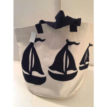 extra LARGE SAILBOAT CANVAS beach cotton natural tote bag EMBROIDERED sail  NEW