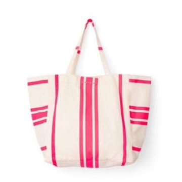 NEW VICTORIA'S SECRET SUN  FUN TOTE Pink and White Striped Large Beach BAG Logo