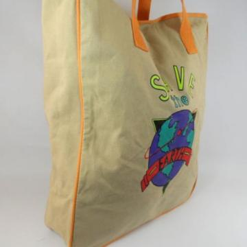 "Vtg 90's ""SAVE THE EARTH"" Large Canvas Shopper Tote Beach Bag Carry All"