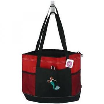 Tropical Mermaid Zippered Tote Bag Gemline Select Red Beach Vacation Monogram
