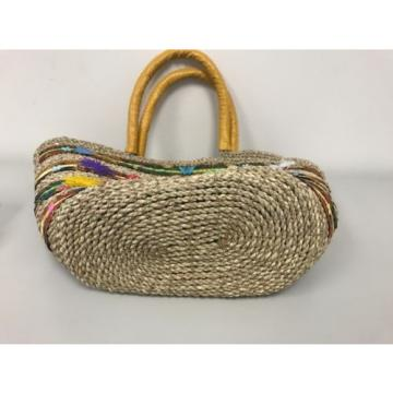 New Large Beach Wicker Straw and Leather Floral Decor Tote bag Handbag Purse