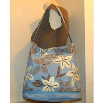 PRETTY! Sky Blue/Ivory/Taupe TROPICAL FLORAL Print Nylon Beachbag/Pool/Tote.