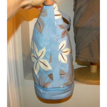 PRETTY! Sky Blue/Ivory/Taupe TROPICAL FLORAL Print Nylon Beachbag/Pool/Tote.