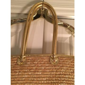 Straw handbag beach bag tote White Stag gold handles