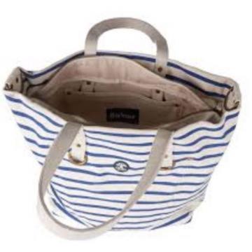 Barbour Sealand Tote Bag / Beach Bag / Nautical Stripe / Zipper Tote - NEW