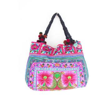 Blue Flower Handmade Beach Tote Bag Thai Hmong Embroidered Large Size