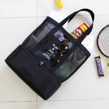 FUNNYMADE Cooler Thermal Bag Cooler Box Shoulder Bag Picnic Beach Mesh Bag