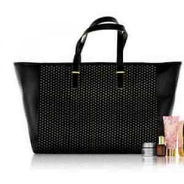Estee Lauder Black Perforated Faux Leather Beach Tote Shoulder Bag~NEW
