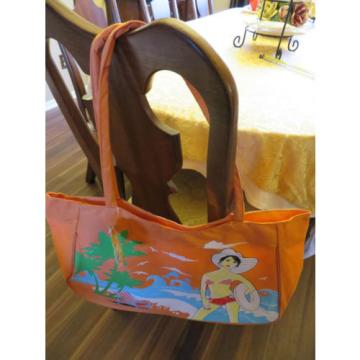 Tote Large shopping tangerine neon orange canvas beach book bag