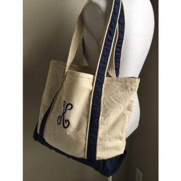 Canvas Tote Beach Bag Navy Ivory Monogram Letter K