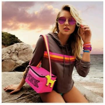 Victorias Secret Beach Cooler Bag With Mini Dog Keychain 2016 Pink