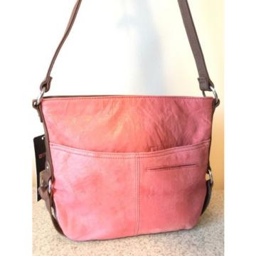 NWT Stone Mountain Shoulder bag Long Beach Genuine Leather Papaya/Tan $169