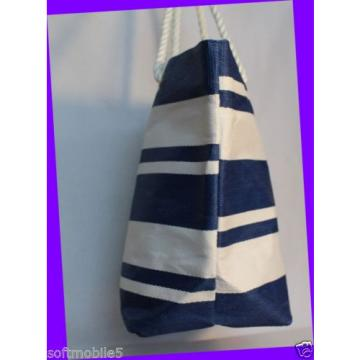 Victoria's Secret Striped BLUE & WHITE Canvas Beach Tote Bag w/ Rope Handles