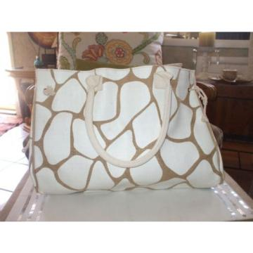 Nordstrom hemp pvc tan white large sturdy tote book bag shopping bag beach bag