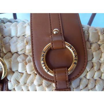 Eteinne Aigner Corn Husks Beach Tote bag w/ Leather Shoulder Bag