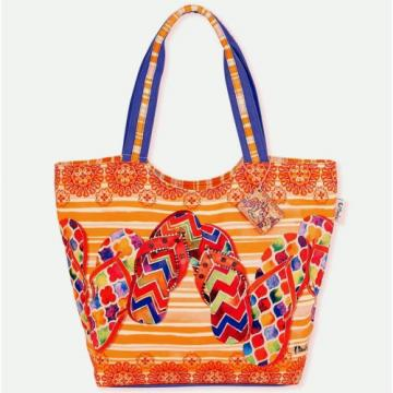 SUN N SAND LARGE SCOOP TOTE BEACH CRUISE BAG FLIP FLOPS ORANGE PAUL BRENT OCEAN