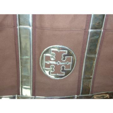Authentic TORY BURCH Women canvas Beach Tote bag Brown & Metallic Medium size