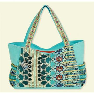 SUN N SAND MEDIUM SCOOP CANVAS TOTE BEACH CRUISE RESORT BAG BLUE AQUA