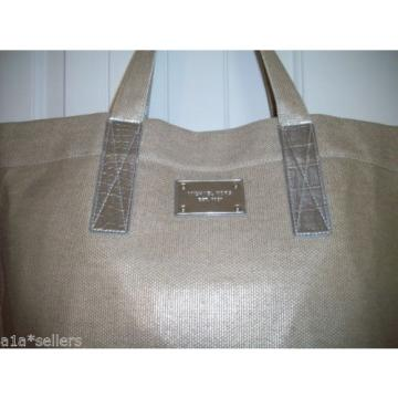 MICHAEL KORS GOLD SILVER KHAKI TAN METALLIC BEACH TOTE TRAVEL BAG PURSE SHOPPER