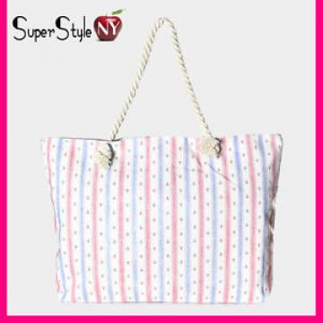 Linen Braided Rope Striped Anchor Summer Print Zip Beachbag Tote Bag