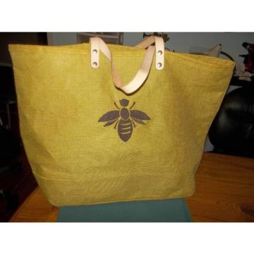BALLARD OLIVE GREEN BUMBLE BEE EMBROIDERY XL SHOPPER TOTE BEACH BAG