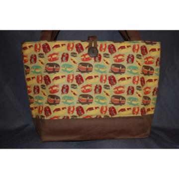 Camping Trimmed in Brown Handmade Handbag Purse Gift Bag Diaper Bag Beach Bag