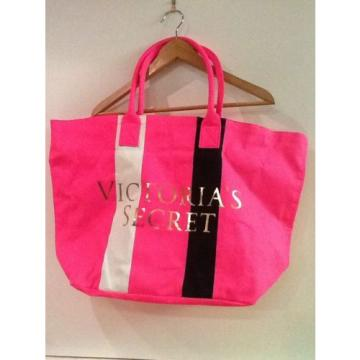 Victoria's Secret Pink Canvas Striped Beach Shopping Weekender Tote Bag NWOT *