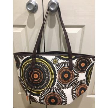 Neiman Marcus Brown Black Yellow Large Shoulder Tote Beach Bag NEW